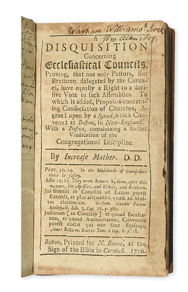 (EARLY AMERICAN IMPRINT.) Mather, Increase. A Disquisition Concerning Ecclesiastical Councils.