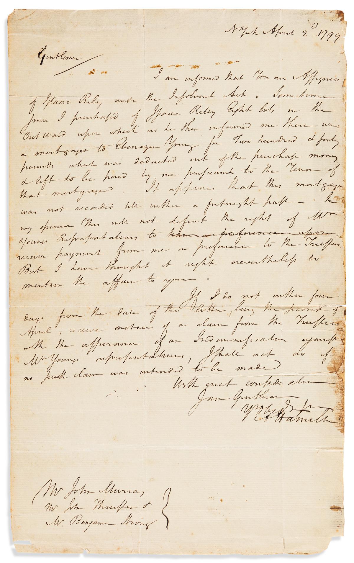 HAMILTON, ALEXANDER. Autograph Letter Signed, AHamilton, to John Murray, John Thurston, and Benjamin Strong,