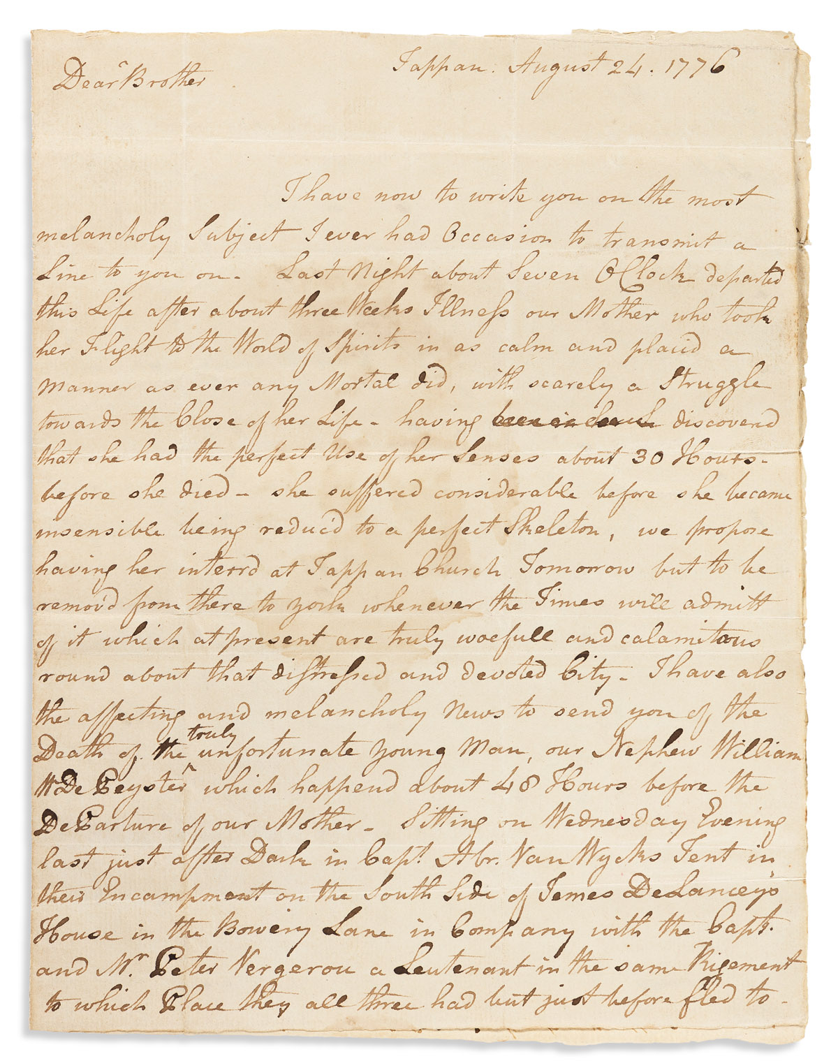 (AMERICAN REVOLUTION--1776.) Abraham W. de Peyster. Letter describing the deadly lightning storm just before the Battle of Long Island.