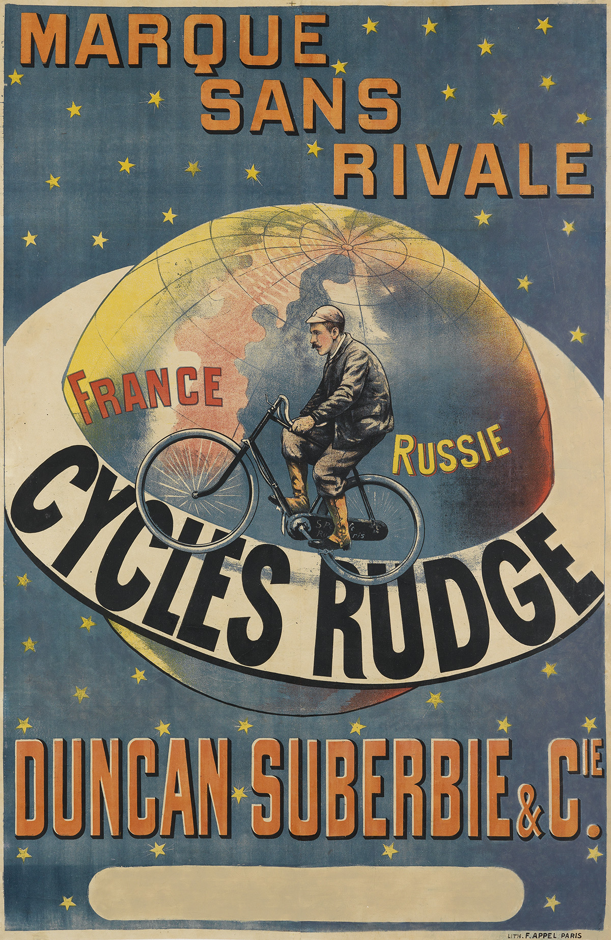 DESIGNER UNKNOWN. CYCLES RUDGE / MARQUE SANS RIVALE. Circa 1896. 58x38 inches, 149x97 cm. F. Appel, Paris.