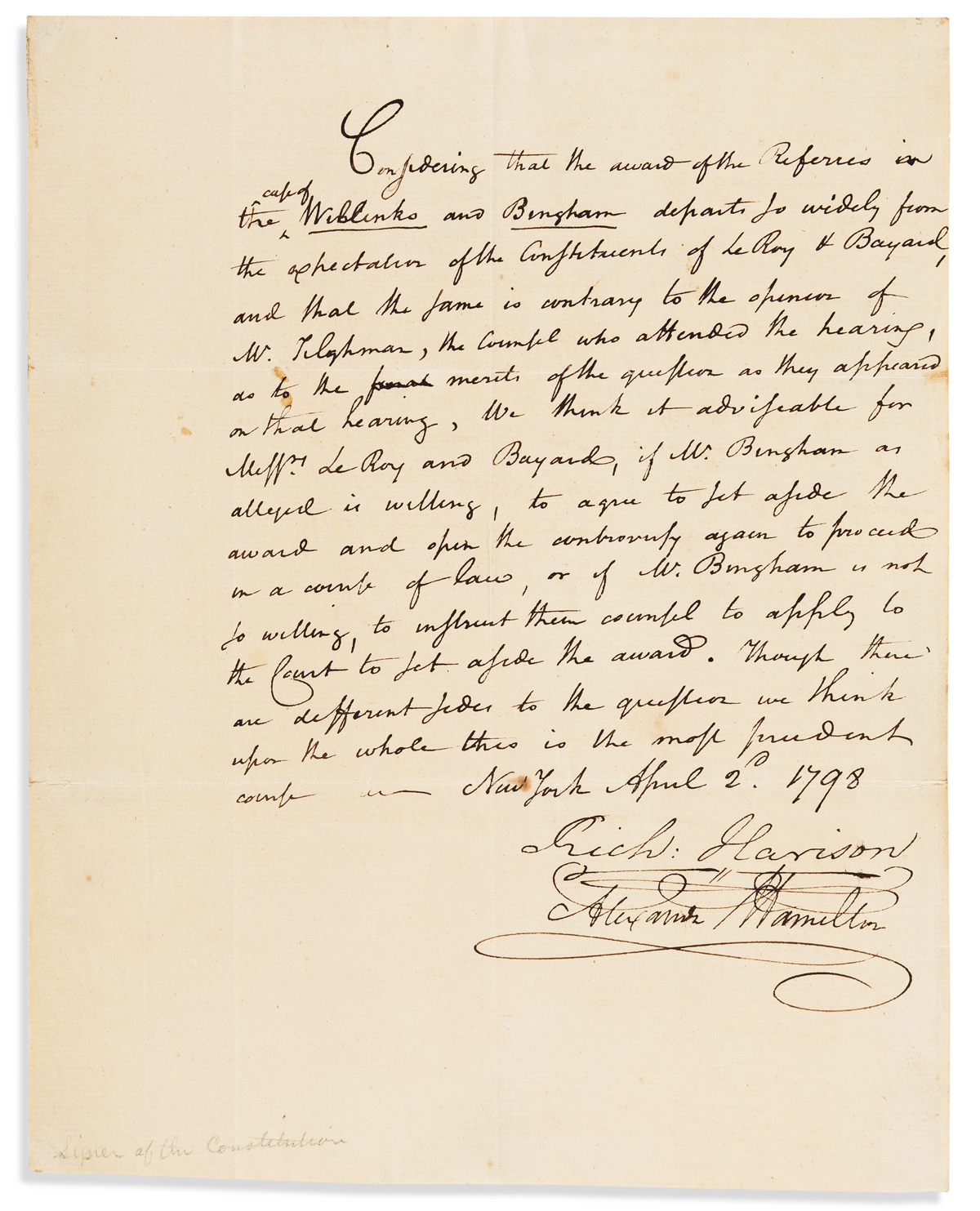 HAMILTON, ALEXANDER. Autograph Note Signed, to an unnamed recipient [Herman LeRoy and William Bayard?] (lacking salutation),