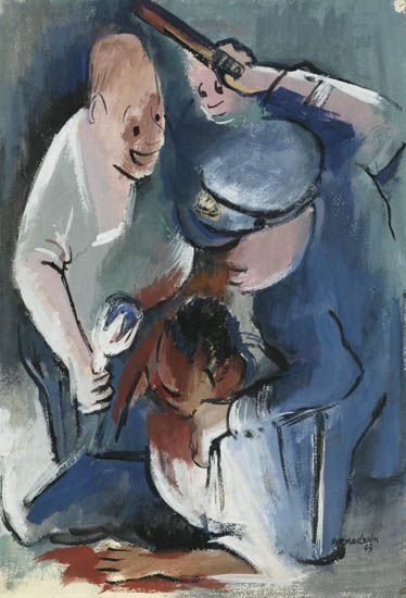 NORMAN LEWIS (1909 - 1979) Untitled (Policeman Beating an African-American Man).
