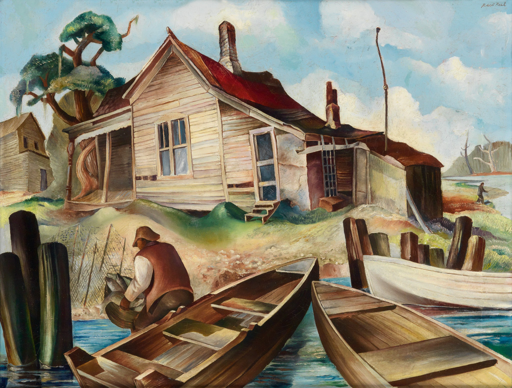 ROBERT NEAL (1916 - 1989) Untitled (Fishermans House at Rivers Edge).