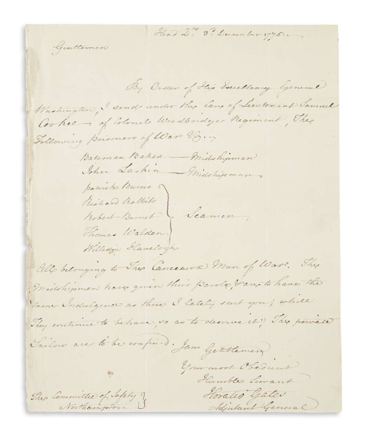 GATES, HORATIO. Autograph Letter Signed, to the Chairman of the Committee of Safety at Northampton, MA [Seth Pomeroy?],