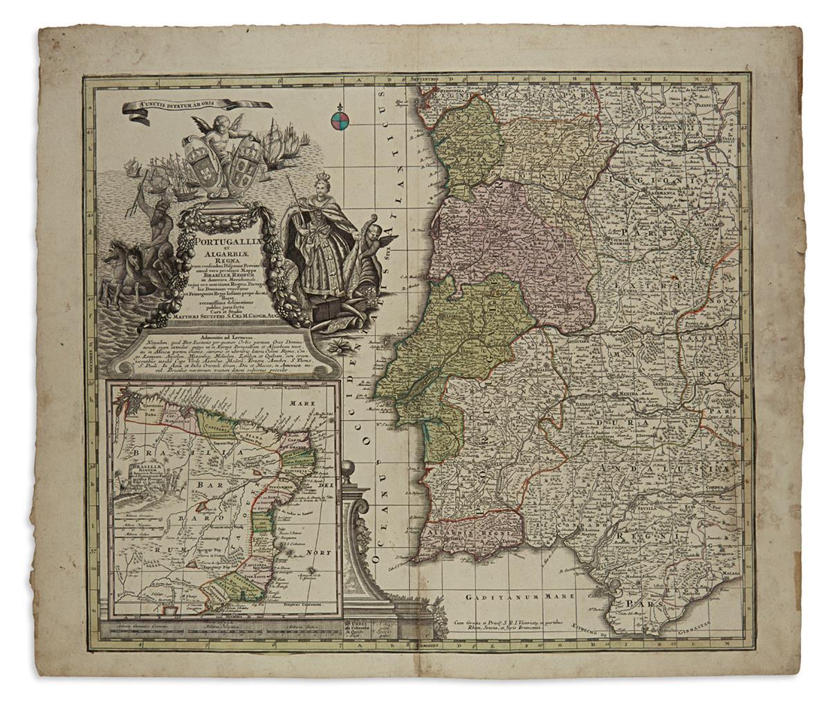 (PORTUGAL)-Seutter-Matthaeus-Portugalliae-et-Algarbiae-Regna