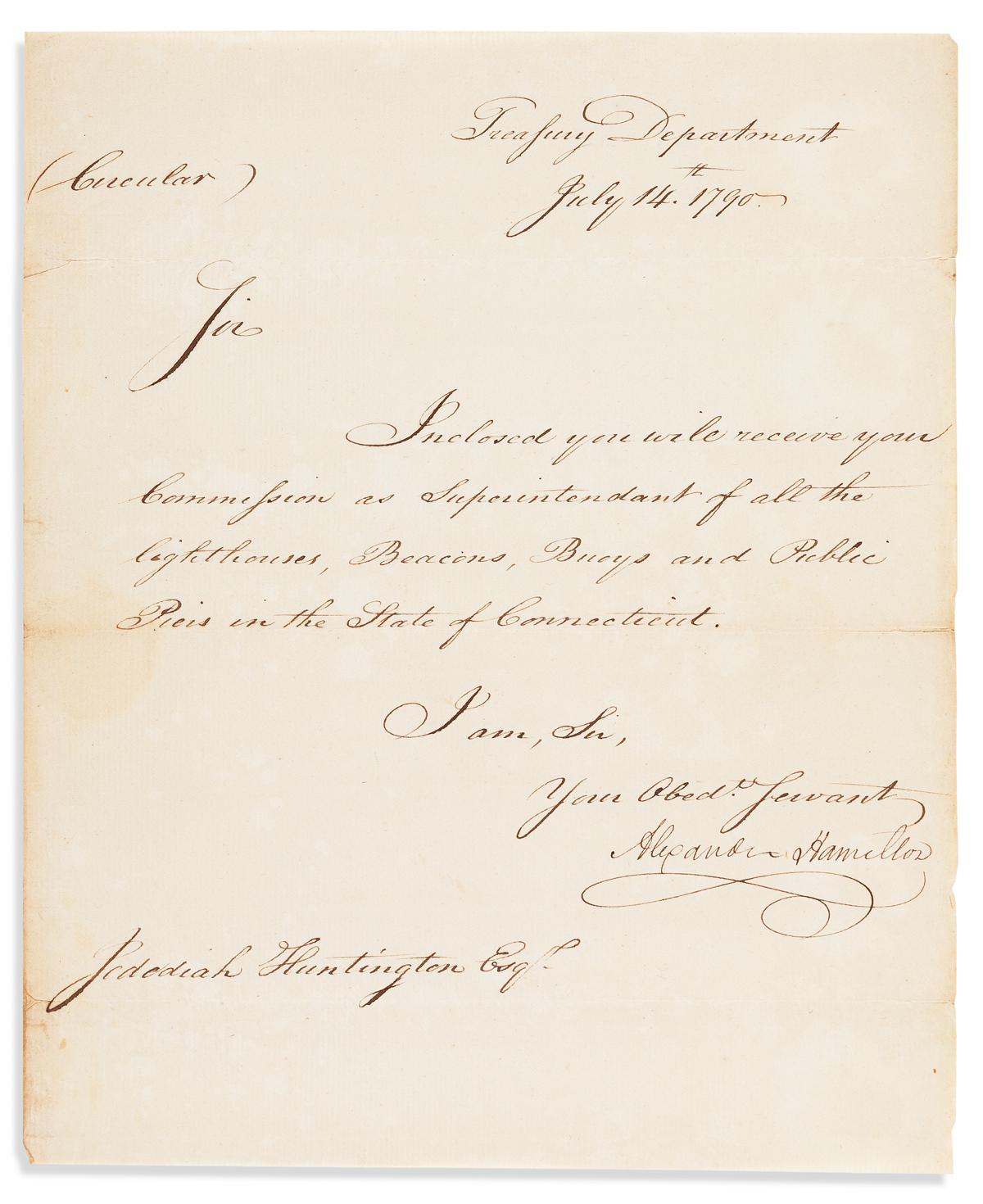 HAMILTON, ALEXANDER. Letter Signed, as Secretary of the Treasury, to Jedediah Huntington,