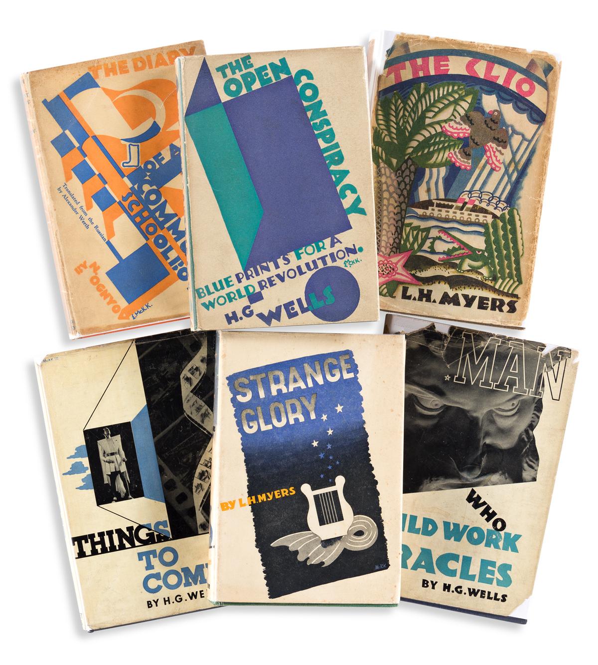 EDWARD MCKNIGHT KAUFFER (1890-1954).  [ART DECO DUST JACKETS.] Group of 6 books. 1925-1936. Sizes vary.