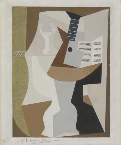 PABLO PICASSO (after) Guéridon avec Guitare et Partition.  Color pochoir, circa 1920.