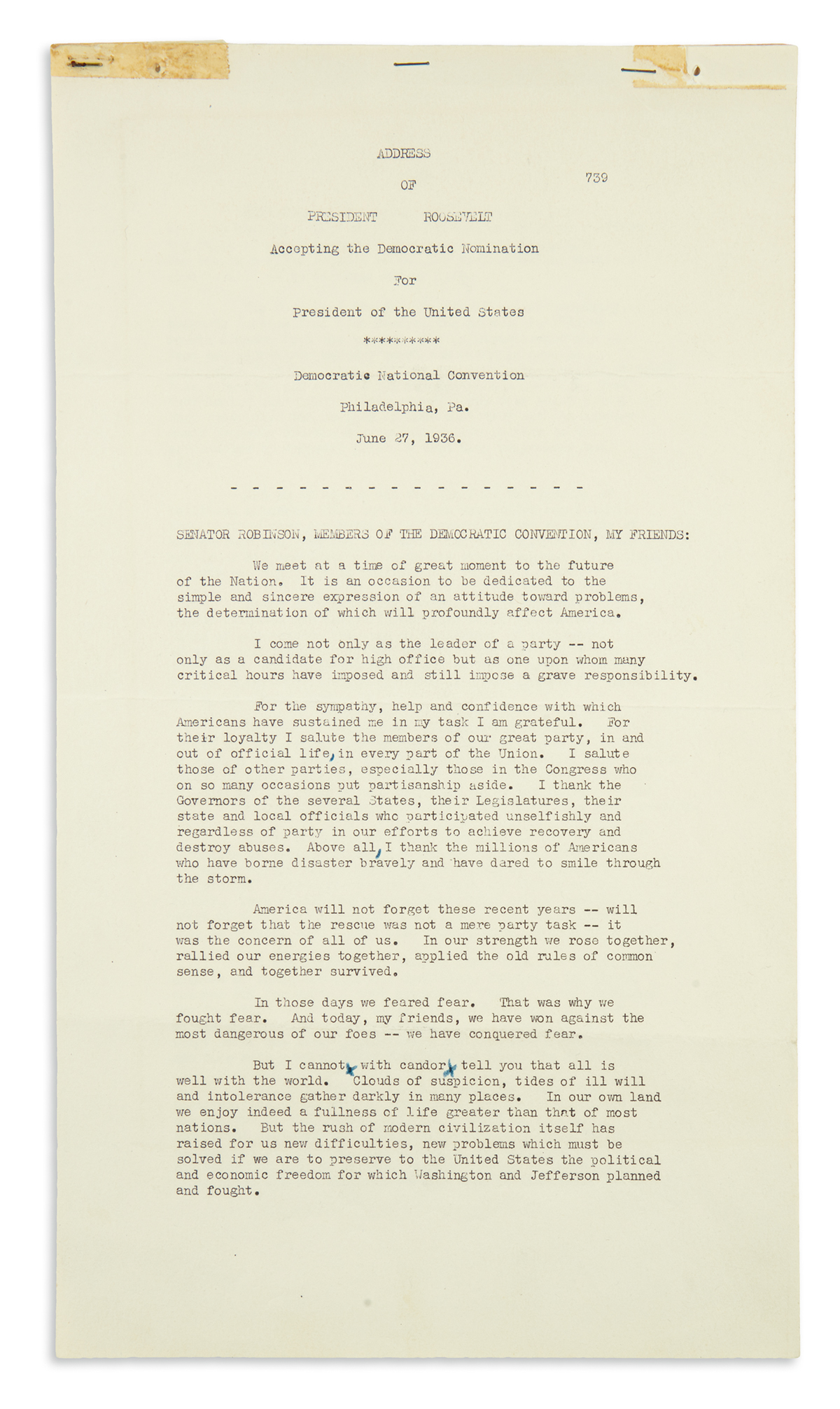 ROOSEVELT, FRANKLIN D. Typescript Signed, draft of the address accepting his second nomination for president,