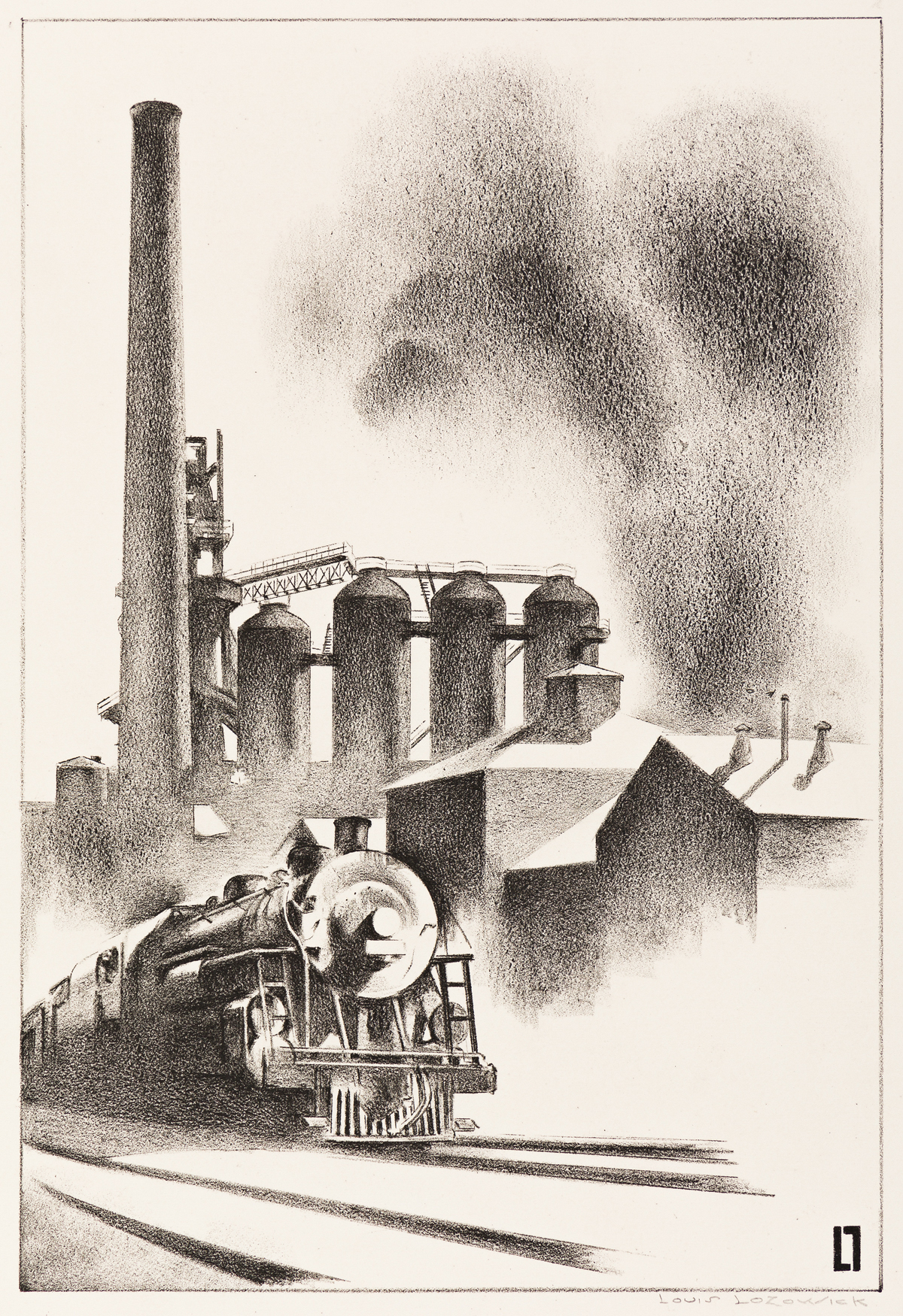 LOUIS LOZOWICK Train and Factory.