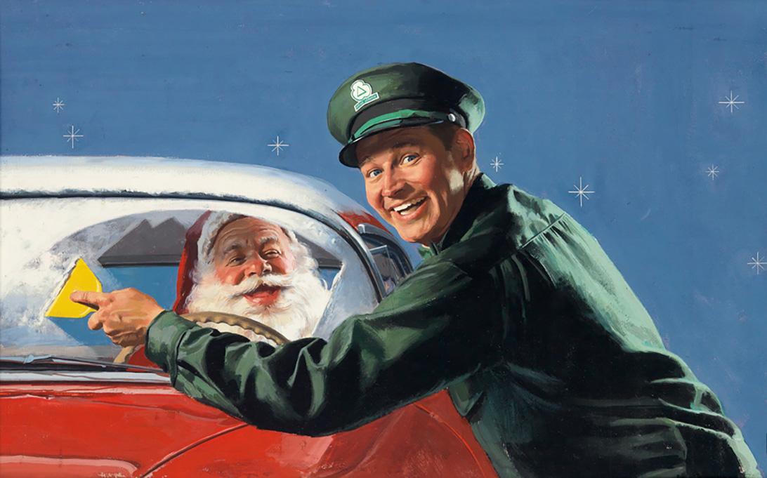 AMERICAN ARTIST. Cleaning Santas Windshield. [ADVERTISING / CHRISTMAS]