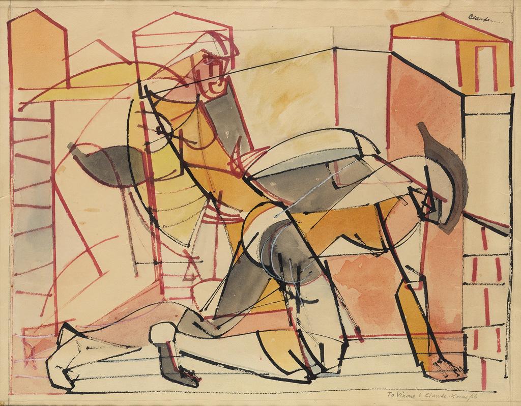 ROMARE BEARDEN (1911 - 1988) Untitled (Fallen Warrior and Woman).