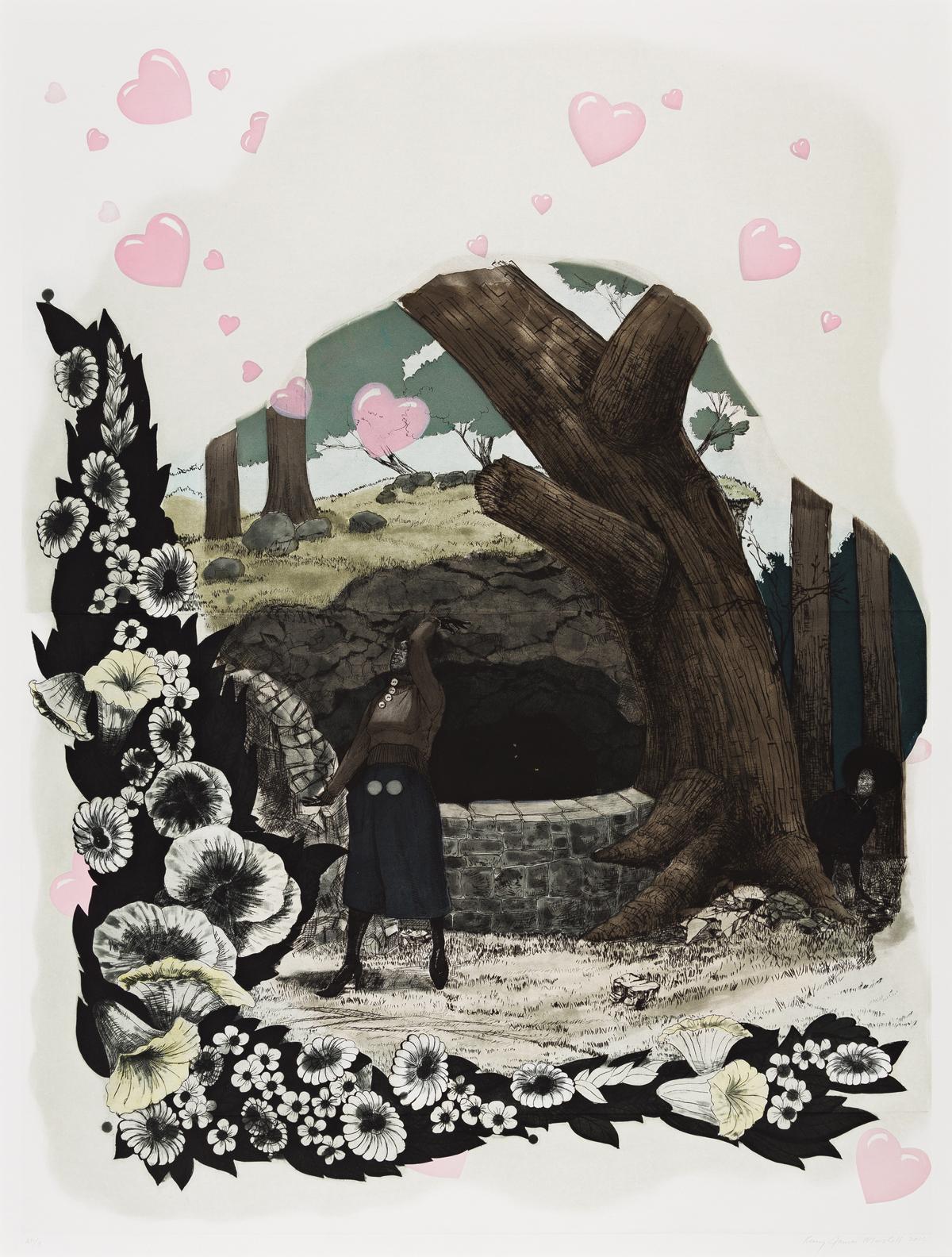 KERRY JAMES MARSHALL (1955 -  ) Vignette (Wishing Well).