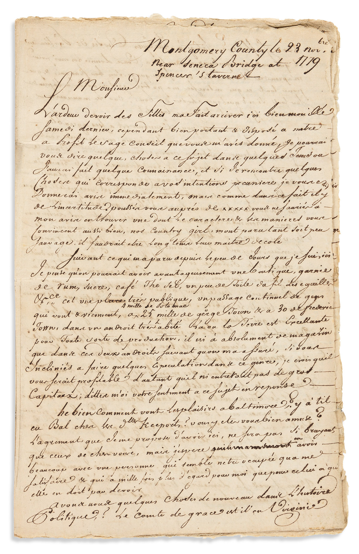 (AMERICAN REVOLUTION--1779.) Letter from a Frenchman in Maryland.