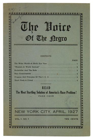 (BLACK RADICALISM.) HARRISON, HUBERT H. The Voice of the Negro. Volume 1, No. 1.