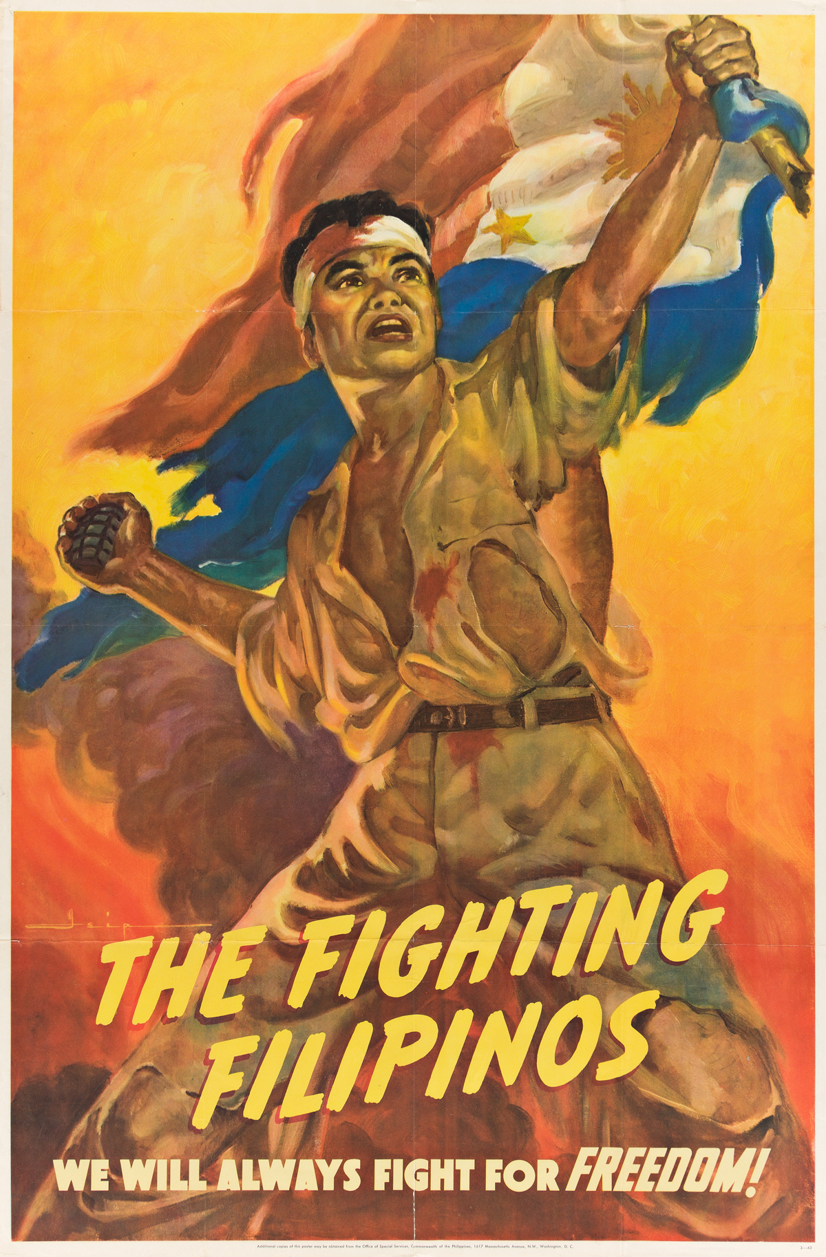 MANUEL REY ISIP (1904-1987).  THE FIGHTING FILIPINOS. 1943. 41x27 inches, 104x68½ cm. Office of Special Services, Washington D.C.