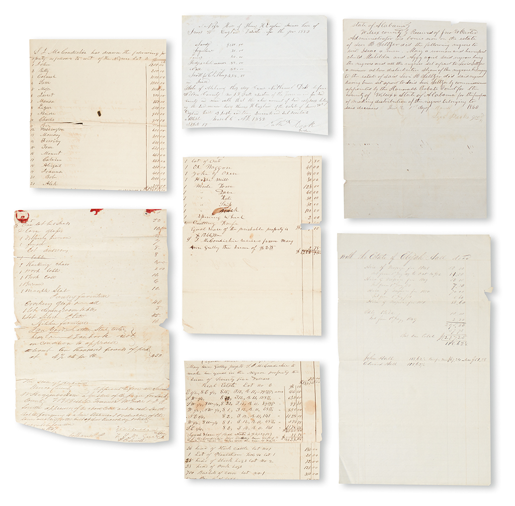 (SLAVERY AND ABOLITION--ALABAMA.) Group of papers relating to the sale and hire of slaves for various estates.