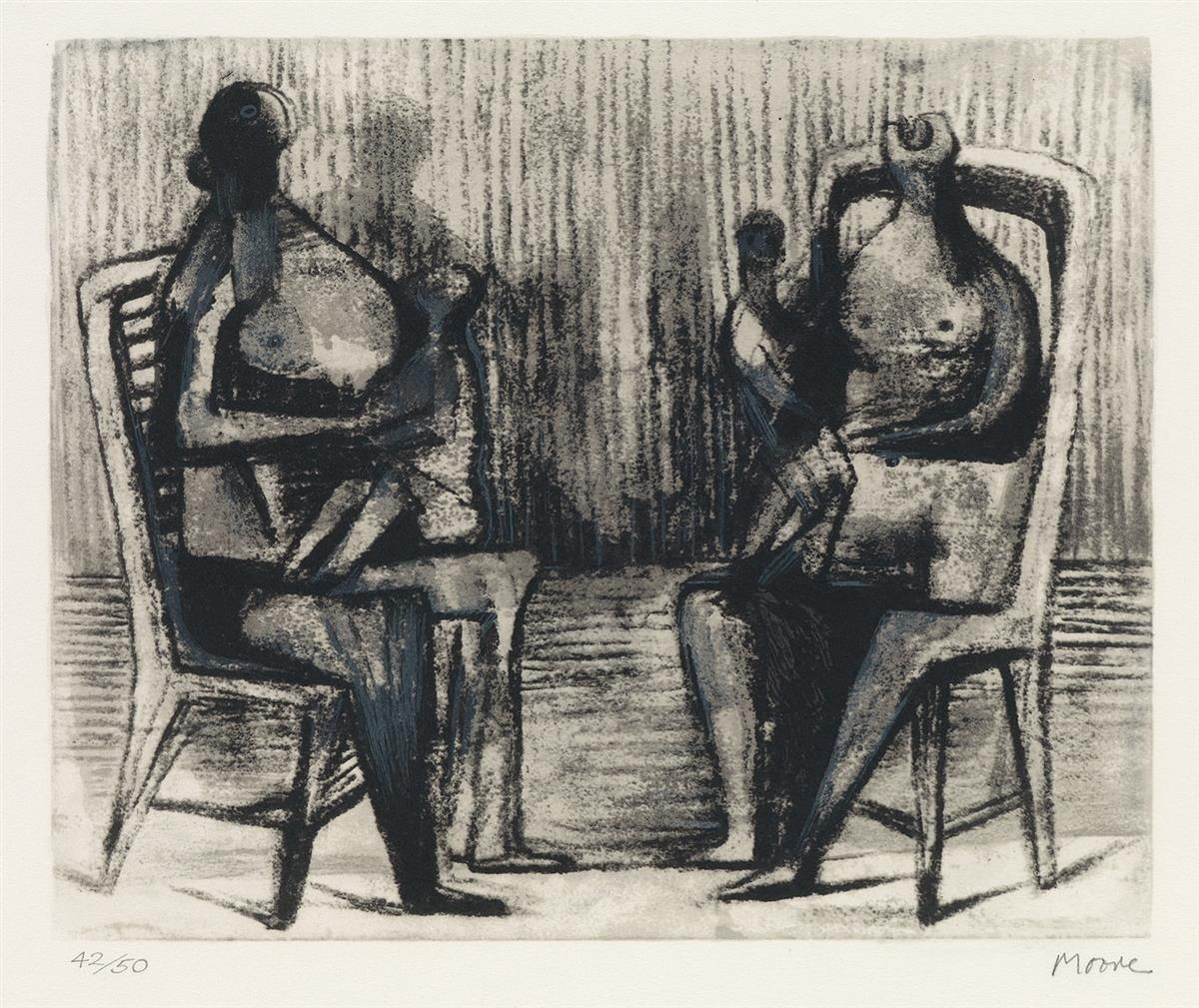 HENRY-MOORE-Two-Seated-Figures-with-Children