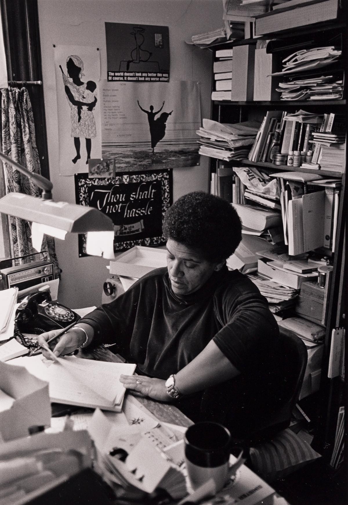 JEB (JOAN E. BIREN, 1944 - ) Audre Lorde in her home study, Staten Island, NY.