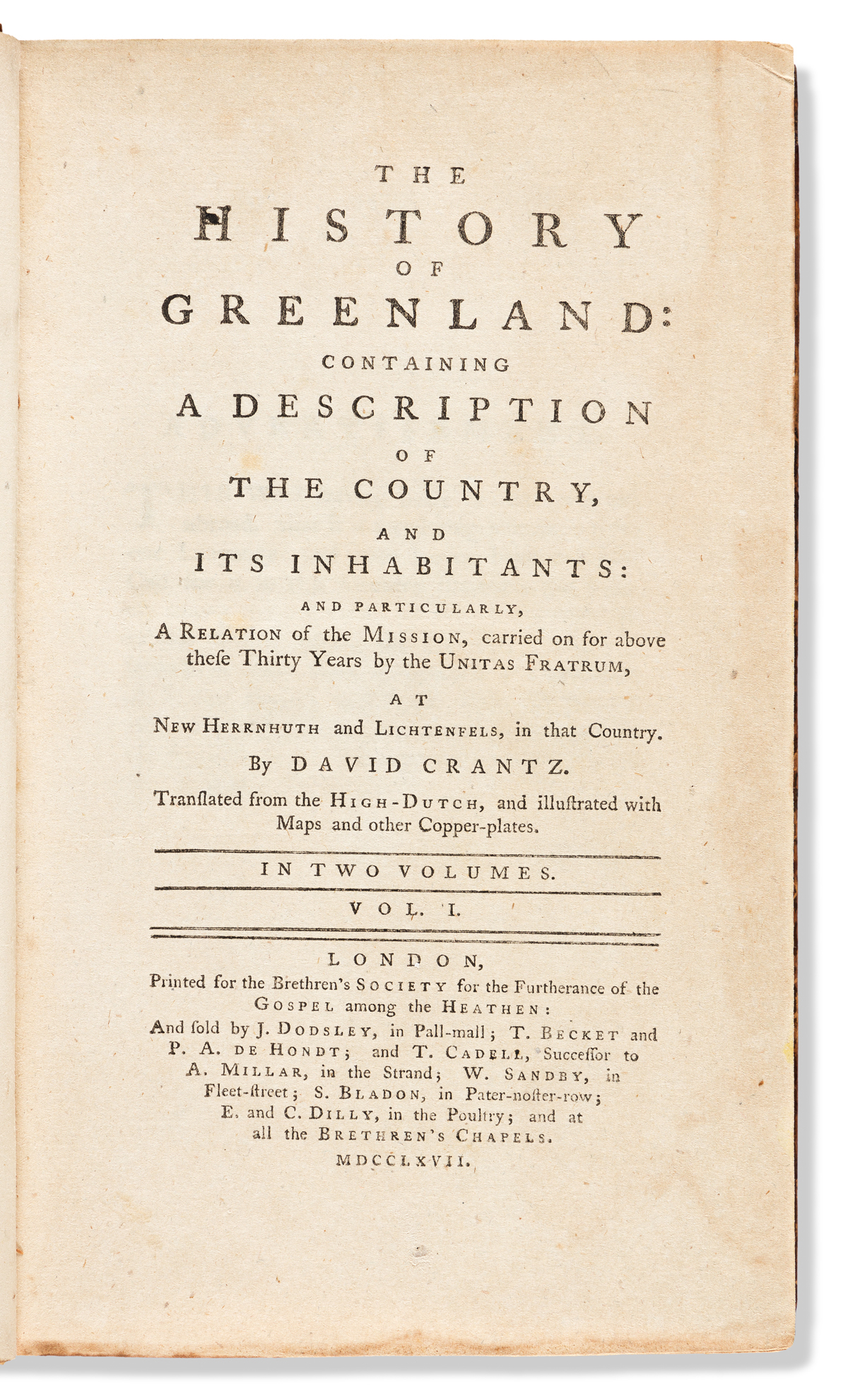 Cranz, David (1723-1777) The History of Greenland: Containing a Description of The Country, and Its Inhabitants.