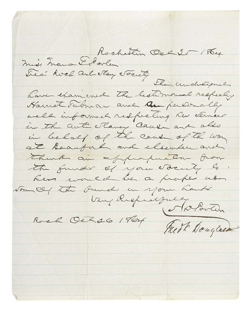 [PORTER, SAMUEL]; FREDERICK DOUGLASS. Autograph Letter Signed attesting to the character of Harriet Tubman and her service in the anti