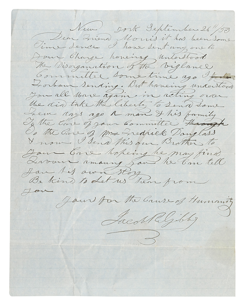 (UNDERGROUND RAIL ROAD.) GIBBS, JACOB. Autograph Letter Signed to friend Morris: It has been some time since I sent anyone to your cha