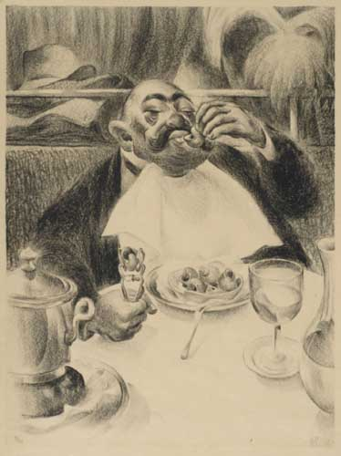 La Serviette au Cou. Lithograph, 16x12 inch image on larger paper. Matted. 1/25, signed lower right. 1931.