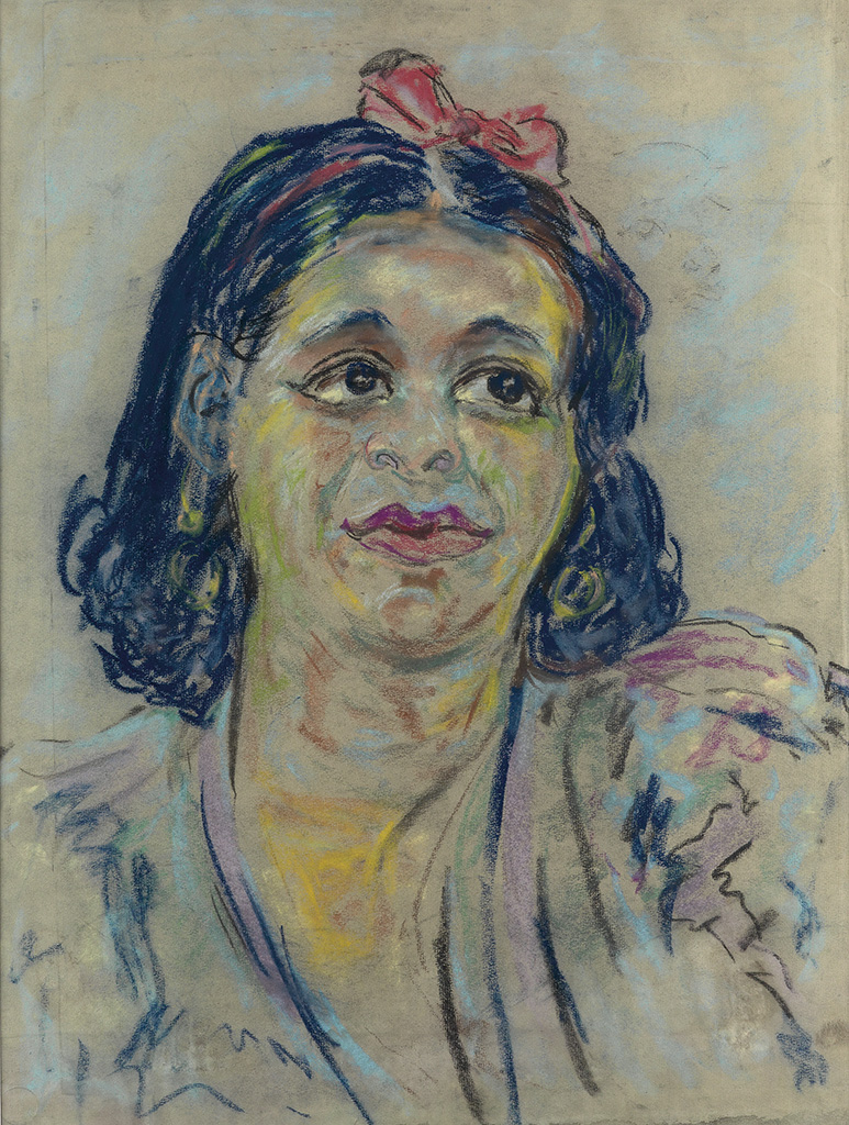 BEAUFORD DELANEY (1901 - 1979) Untitled (Portrait of a Woman with Hair Ribbon).