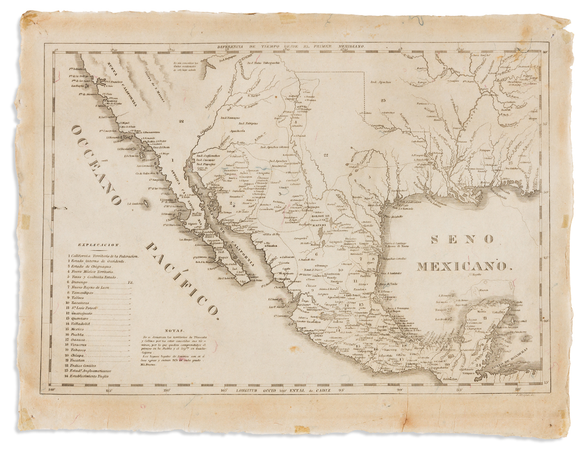 (MEXICO.) Drayton, J[oseph], engraver. [Map of Mexico and the southeast United States.]