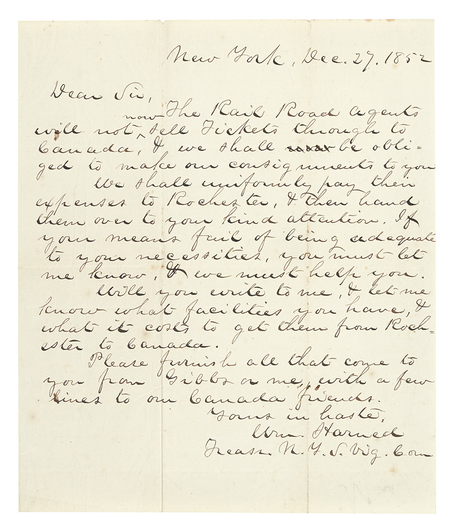 (UNDERGROUND RAIL ROAD.) HARNED, WILLIAM. Autograph Letter Signed to an unknown recipient in Rochester.