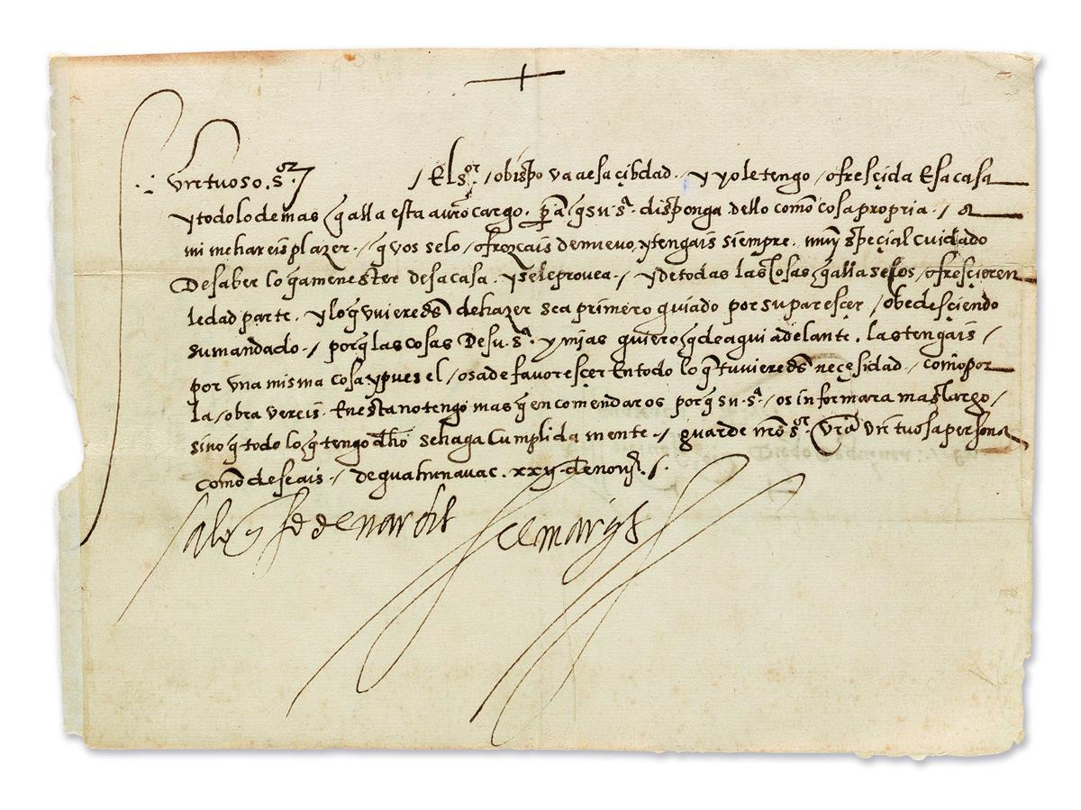 (MEXICO.) Cortés, Hernán. Letter addressed to his assistant, ordering that he offer hospitality to a visiting bishop.
