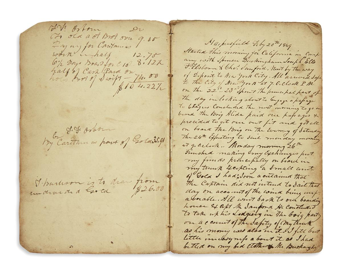 (CALIFORNIA.) Burlison, Thomas. Diary of a Gold Rush miner who barely survived his adventures.