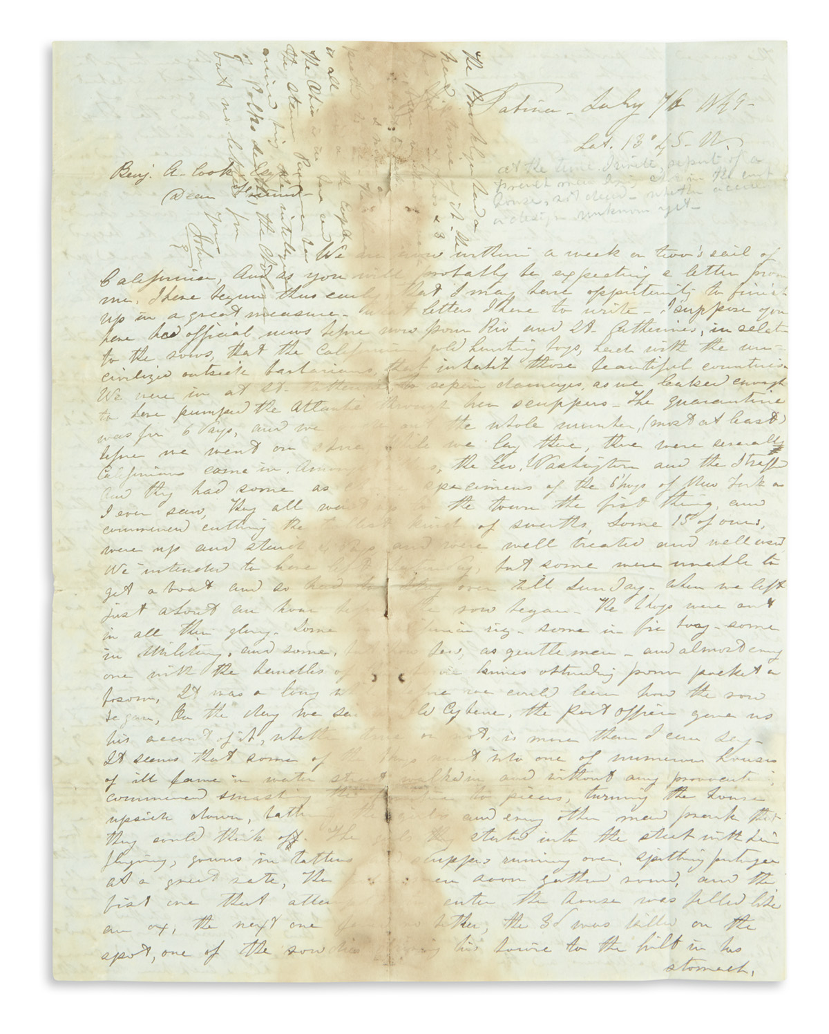(CALIFORNIA.) Mills, John K. Letter describing a rowdy passage around the Horn, and his first impressions of Gold Rush San Francisco.