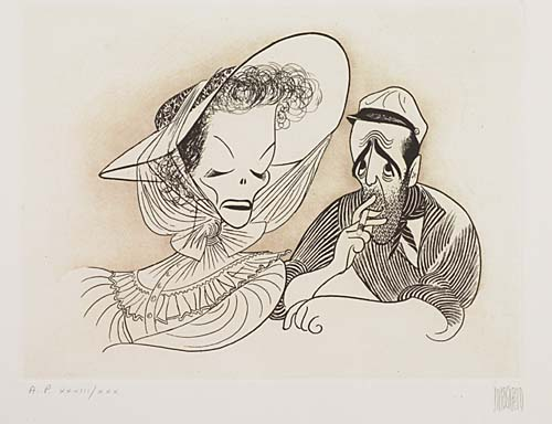 The African Queen: Katherine Hepburn and Humphrey Bogart. Etching, 9 1/2x12 3/4 inches oblong, full margins. Printers proof, sign