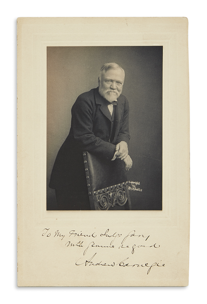 (BUSINESS.) CARNEGIE, ANDREW. Photograph Signed and Inscribed, To my Friend Judge Gary / With genuine regard,