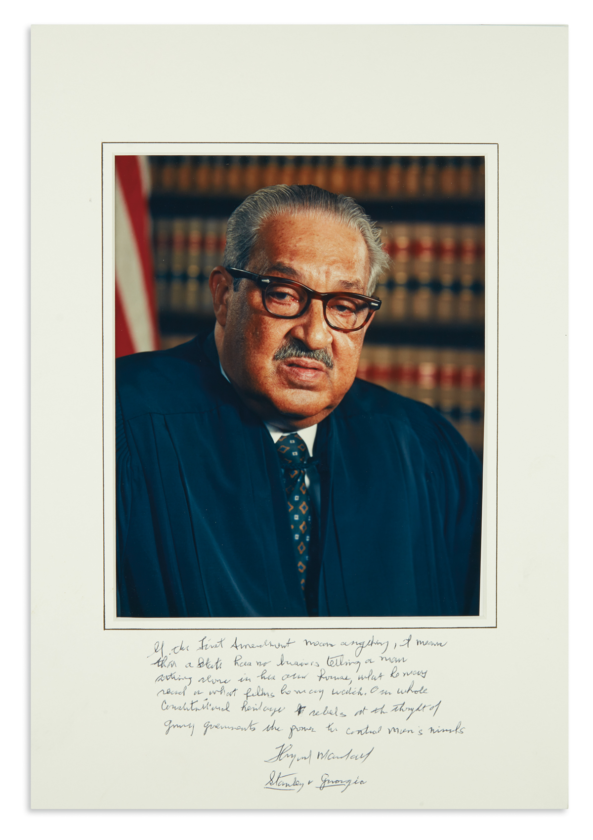 (LAW.) Autographed photograph of Justice Thurgood Marshall.