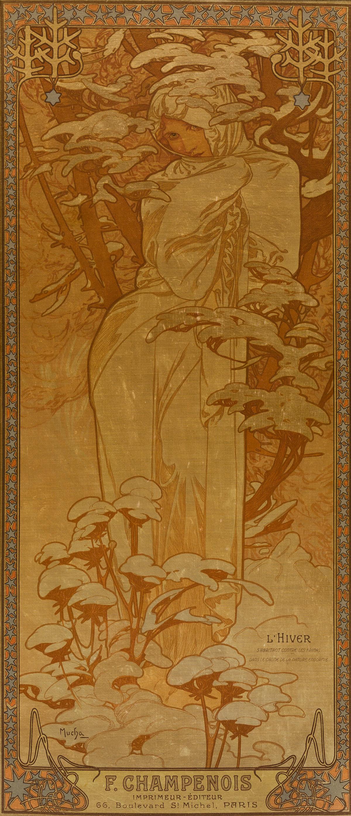ALPHONSE MUCHA (1860-1939). [THE SEASONS / LHIVER.] Decorative panel on silk. 1900. 27x12 inches, 70x30 cm. F. Champenois, Paris.