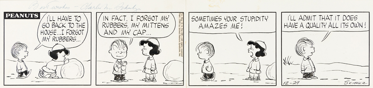 """CHARLES SCHULZ (1922-2000) """"I'll have to go back to the house...I forgot my rubbers..."""" [CARTOONS / COMICS / PEANUTS]"""