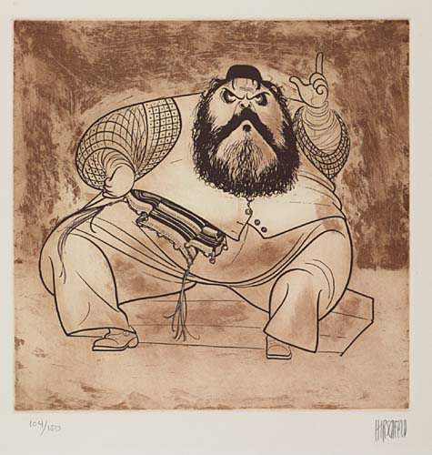 Zero Mostel [in Fiddler on the Roof]. Etching. 10 3/4x10 3/4 inches. Signed and numbered 104/150 in pencil, lower margin. 1975.