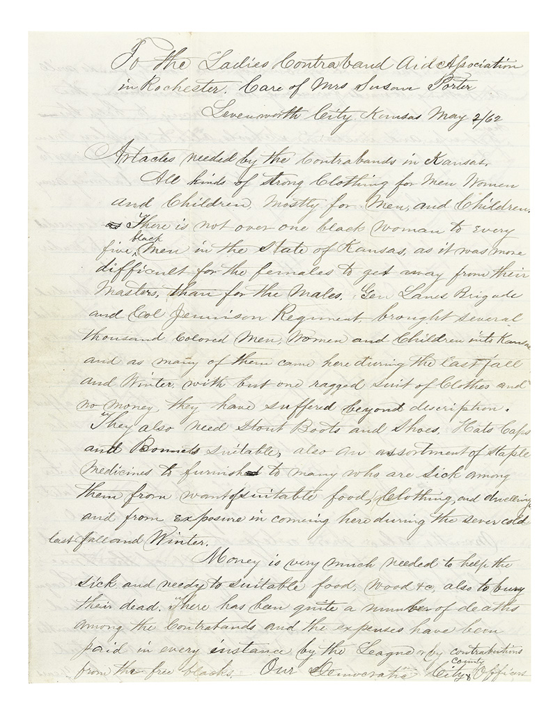 (CONTRABANDS.) Letter describing articles needed by the contrabands in Kansas,