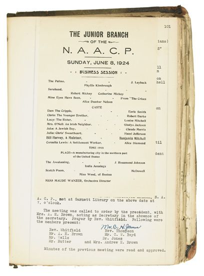 (CIVIL RIGHTS--NAACP.) Minutes of the Charleston, West Virginia branch of the NAACP, 1922-1935.