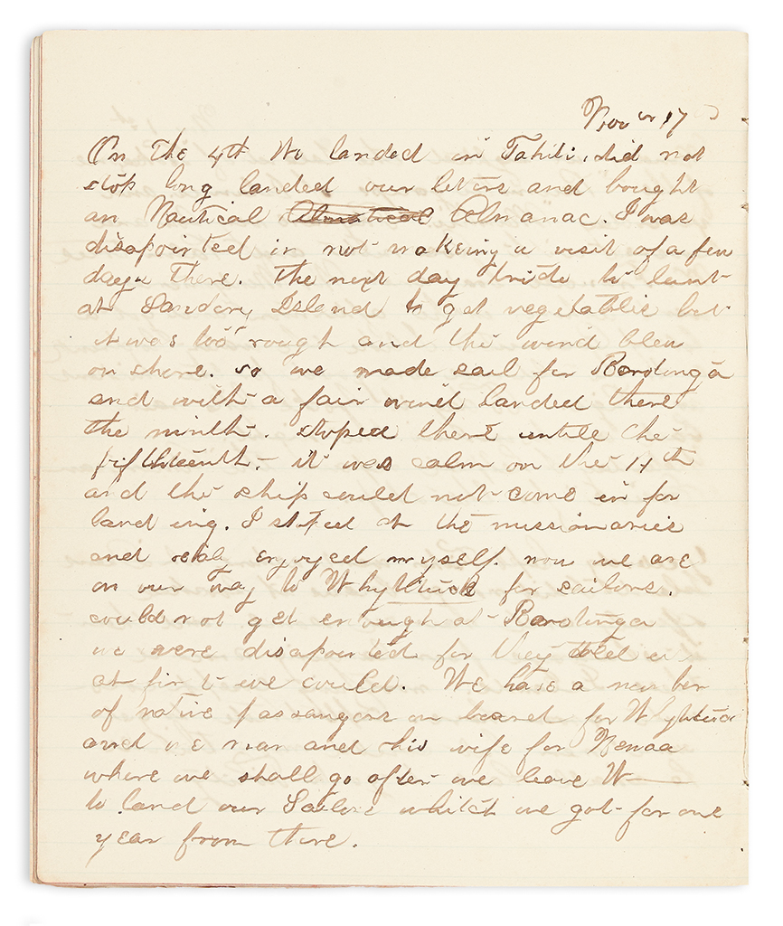 (WHALING.) Fisher, Mrs. Parnell Smith. Diary of a whaling captains wife in the South Pacific.