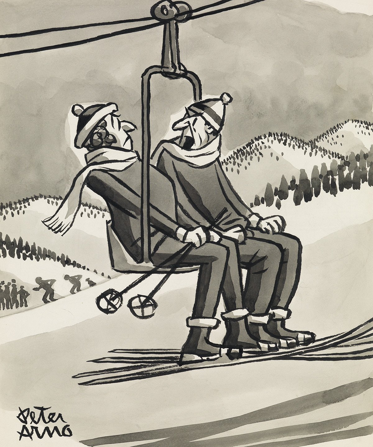 PETER-ARNO-(THE-NEW-YORKER--CARTOON--SKIING)-Will-you-knock-