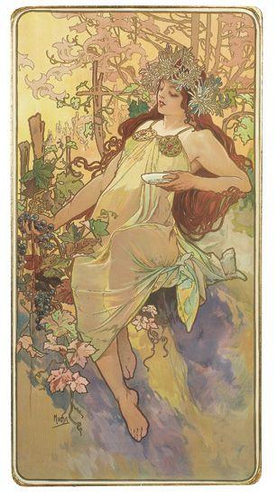 ALPHONSE-MUCHA-(1860-1939)-THE-SEASONS-1896-Each-39x20-inche
