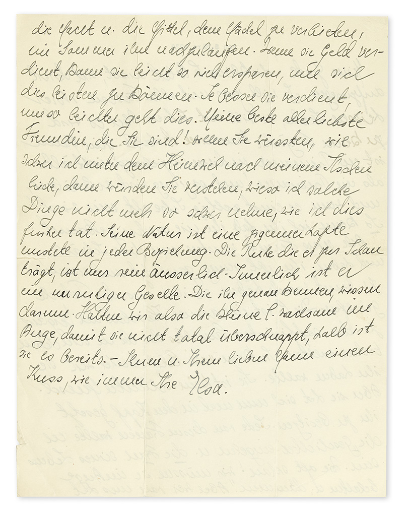 (SCIENTISTS.) EINSTEIN, ELSA. Autograph Letter Signed, Ihre Elsa, to the wife of Berlin physician Gustav P. Bucky, in German,