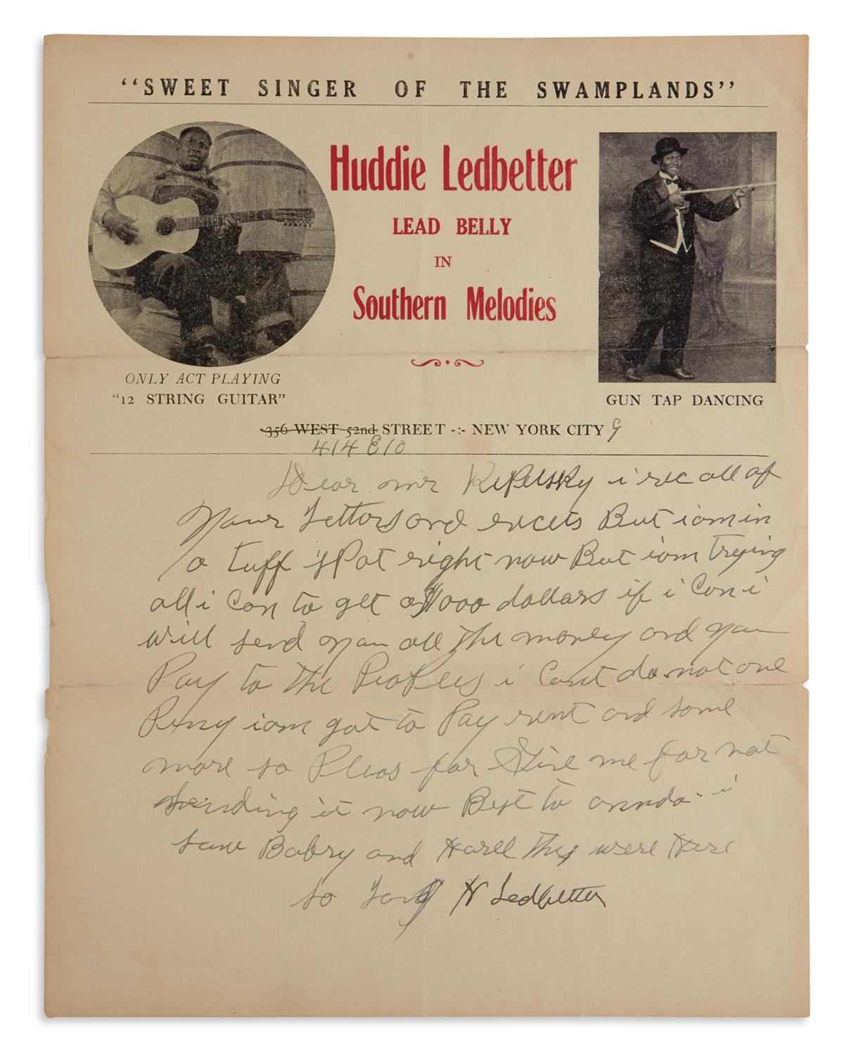 HUDDIE WILLIAM LEDBETTER (LEAD BELLY). Autograph Letter Signed, H Ledbetter, to Arkadey Replelski (Dear Mr. Repelsky),