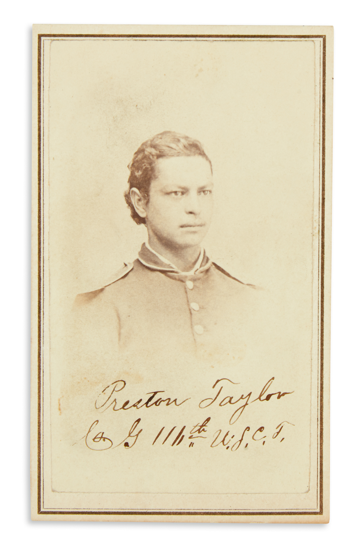 (MILITARY.) Signed photograph of Preston Taylor as a drummer with the 116th United States Colored Troops.
