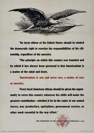 """(CIVIL RIGHTS.) """"America is not, and never was, a matter of race or ancestry."""""""
