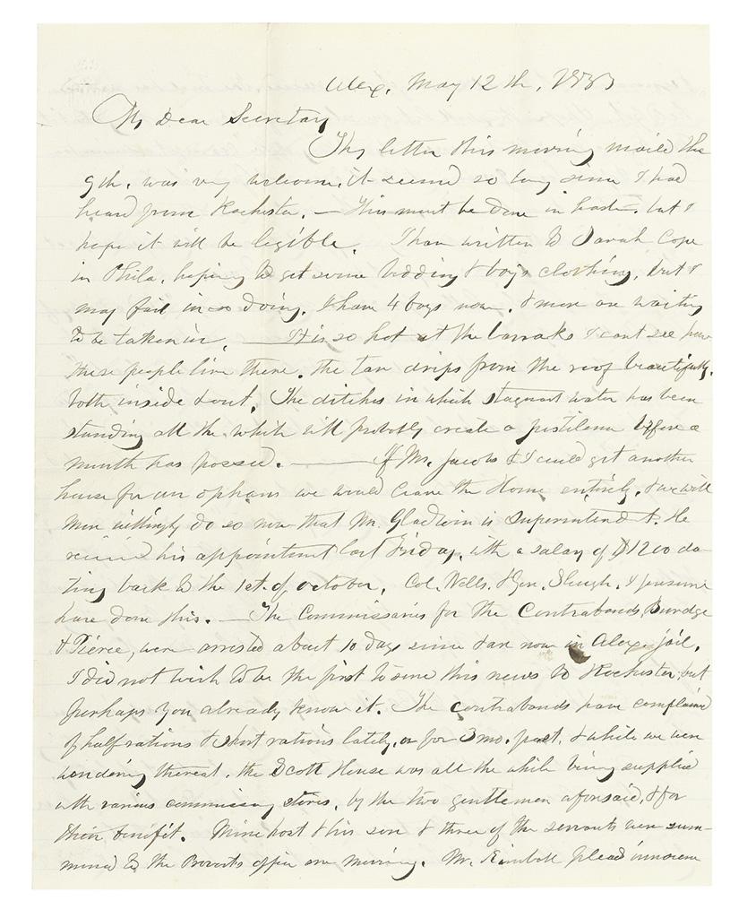 ROCHESTER, NEW YORK. WILBUR, JULIA. Autograph Letter Signed, addressed My Dear Secretary [to Maria Porter].