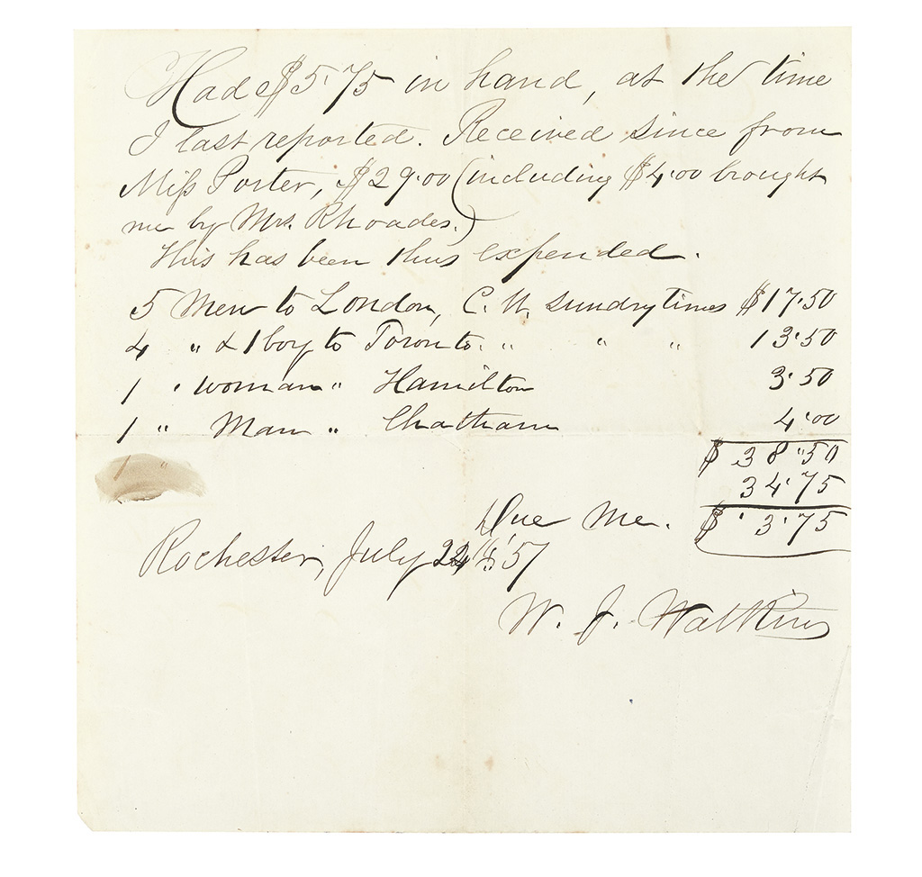 WATKINS, WILLIAM J. Autograph Receipt Signed for monies spent for Underground Rail Road activities.
